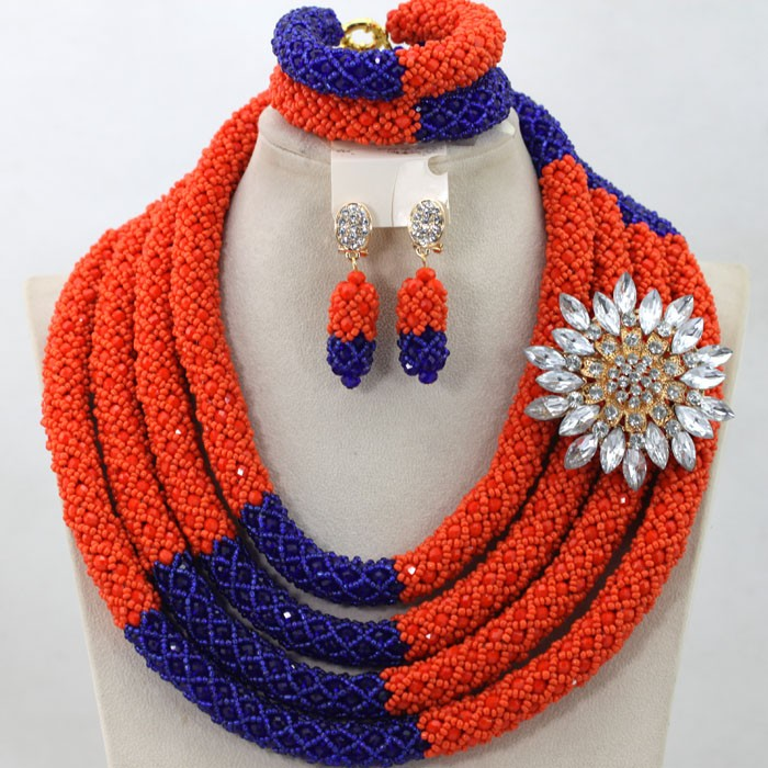 2016 wholesale cheap 4 layers african handmade crystal beads jewelry set nigerian costume necklace jewellery set