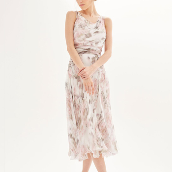 Wholesale Long Dress Chiffon Flower Printed White Maxi Dress 2019