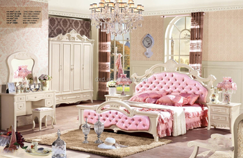 Pink Bedroom Furniture For Girls Bedding Sets Wood Bed In French Style