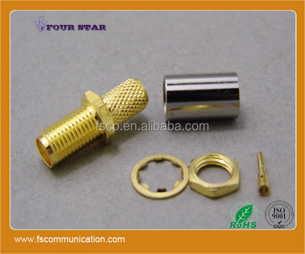 waterproof female jack crimp bulkhead rf coaxial sma connector for lmr240 cable
