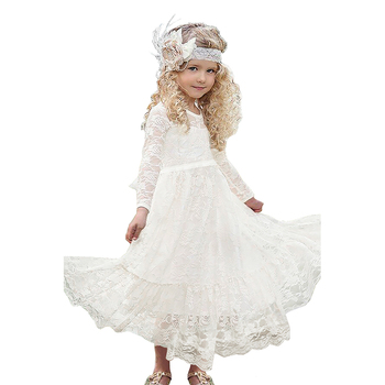 Trade Assurance Order Wholesale Kids Fashion Clothes Children Party Floral Dress Wedding Lace Flower Girl Maxi Dress