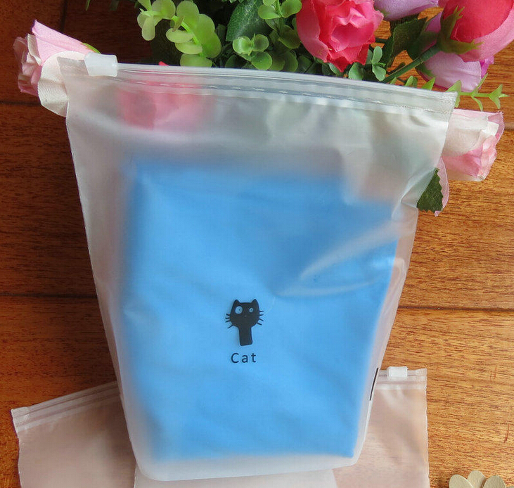 Frosted PVC/EVA underwear packaging bag with slider zipper
