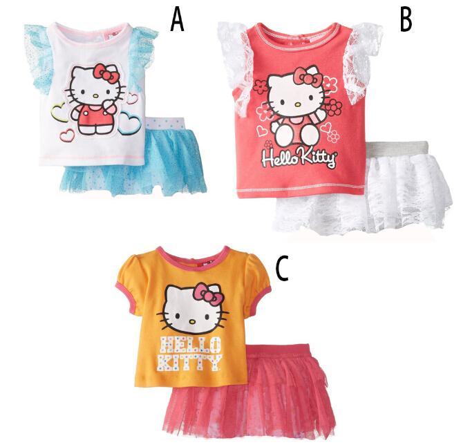 4b1704c60e839 New kids summer cartoon hello kitty clothing set girls KT Cat printed t ...