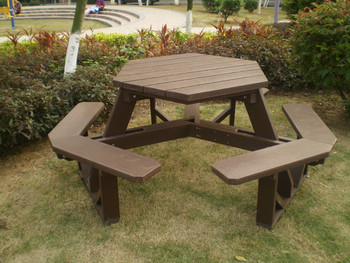 Outdoor Series Park Usage Hexagonal Picnic Table And 6