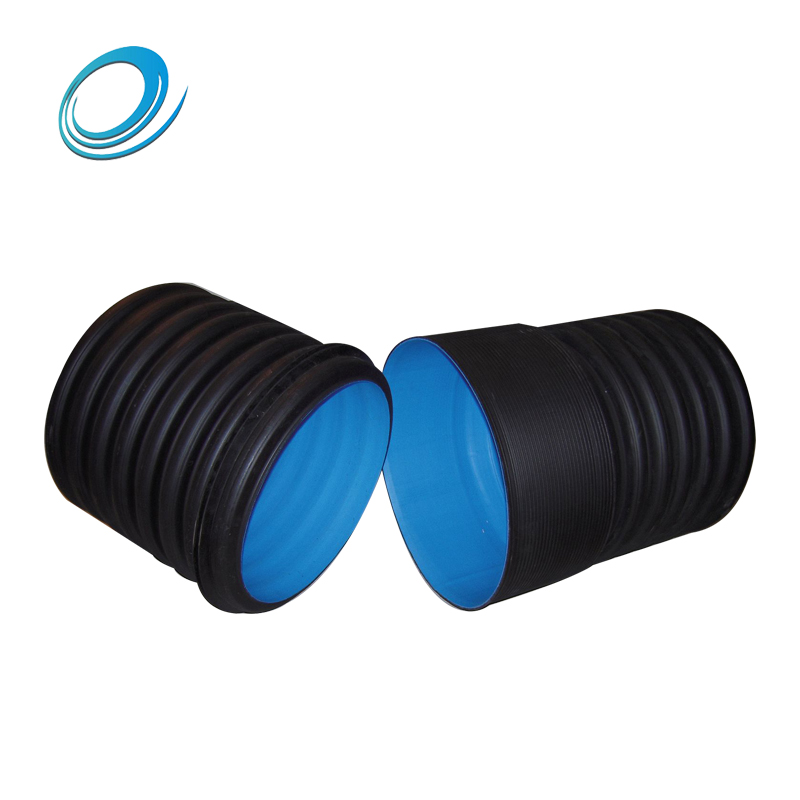 Black color double wall corrugated plastic pipe for community drainage project