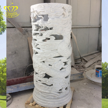 Carved indoor decorative marble stone hollow columns pillar