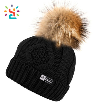 Custom hand knitted woolen caps wholesale straight needle knit hat patterns  custom pom pom beanie hats 1d814e5dd98