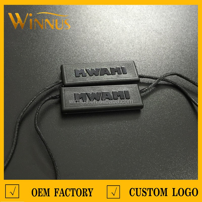 cheap custom own logo garment hang tag string, plastic seal tag