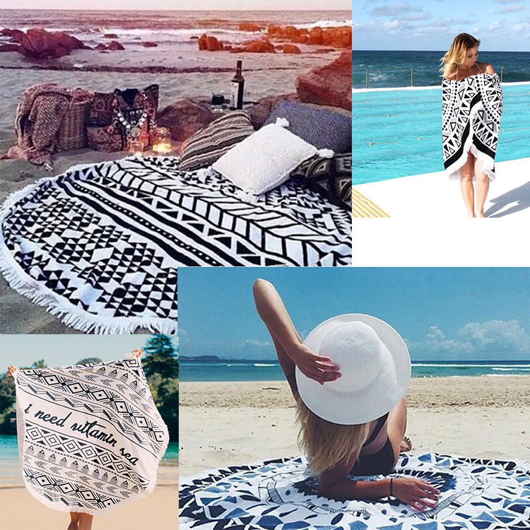 Wholesale Cheap Bulk Custom Round Beach Towels Mandala