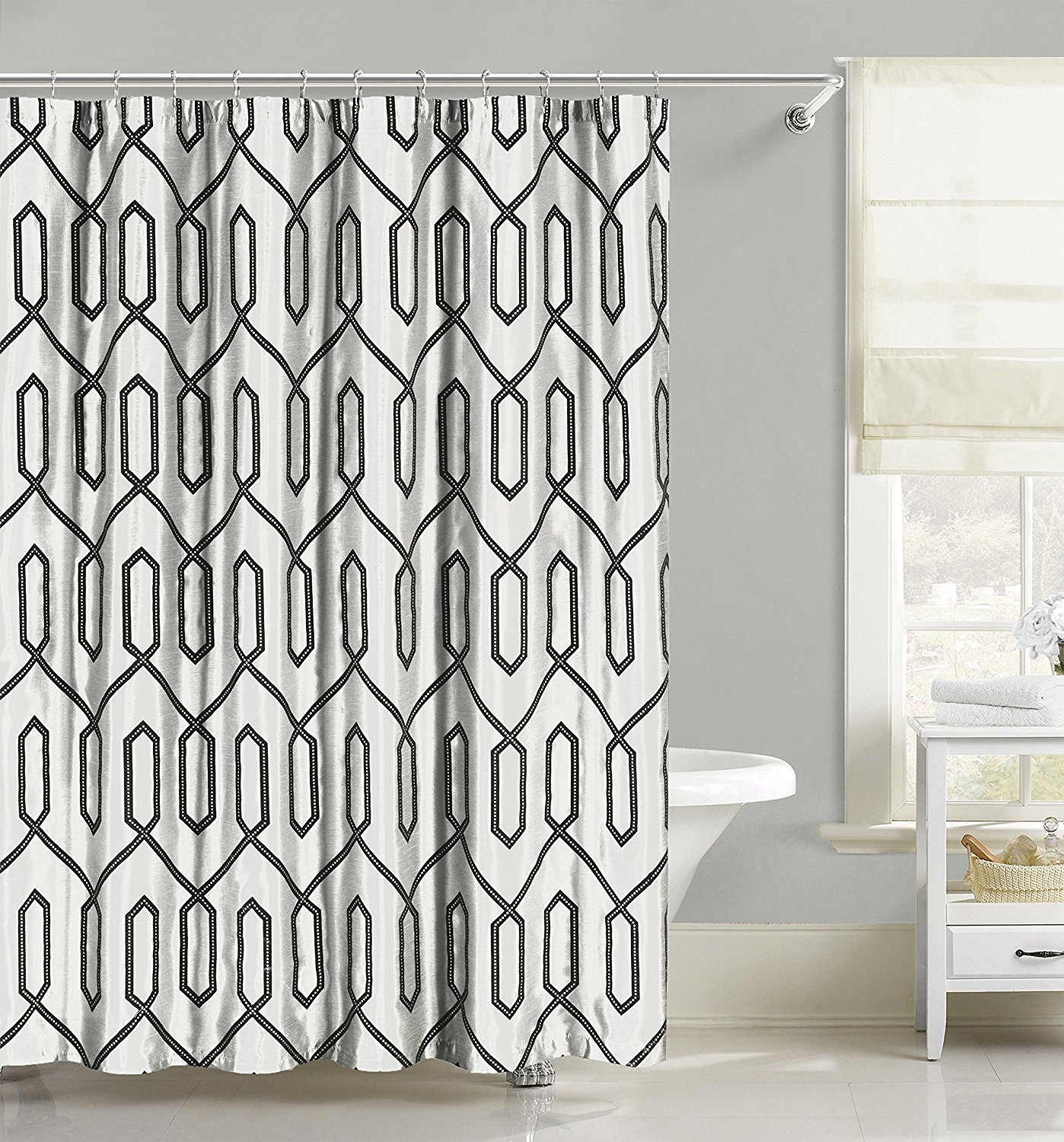 Fabric Shower Curtain With Vine Pattern Embroidered Sheer