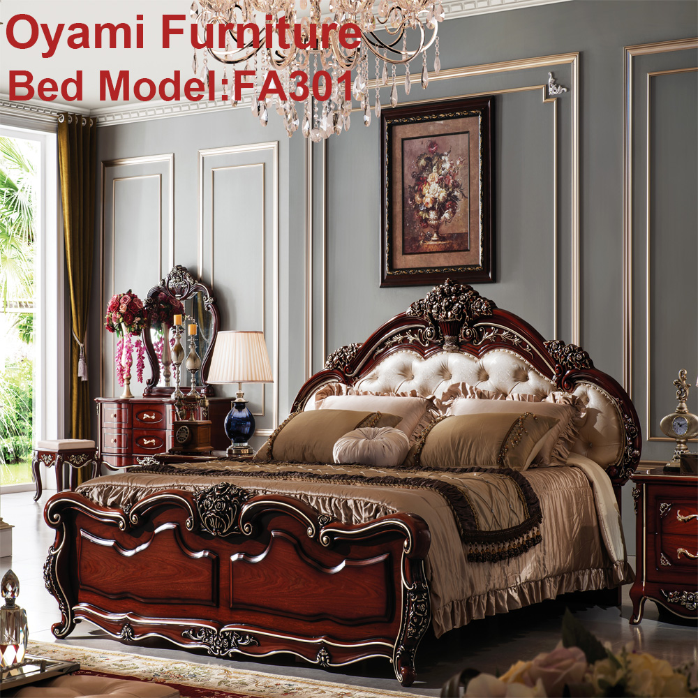 Rococo European Baroque Bed Hand Carved Wooden Bedroom Set Romantic Home Furniture Double Bed