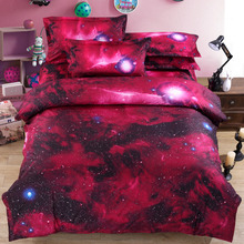 Custom Fantasy Digital Printed 3D Red Starry Sky Comforter Set , Bed Linen , Bedding Sheet With Pillow Case