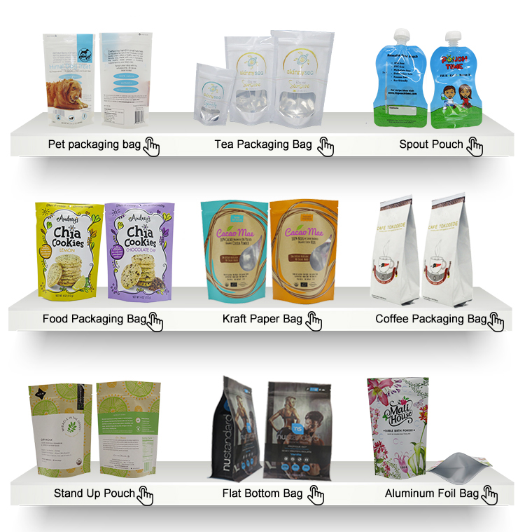 Custom food packaging plastic pouch coffee bean packing bags with valve