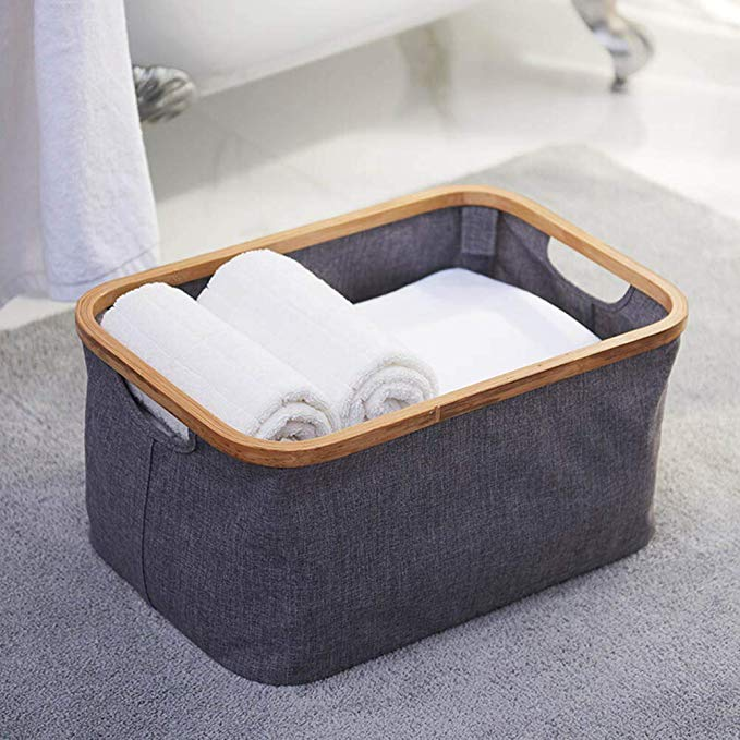 Wholesale bamboo wooden large laundry basket collapsible 3
