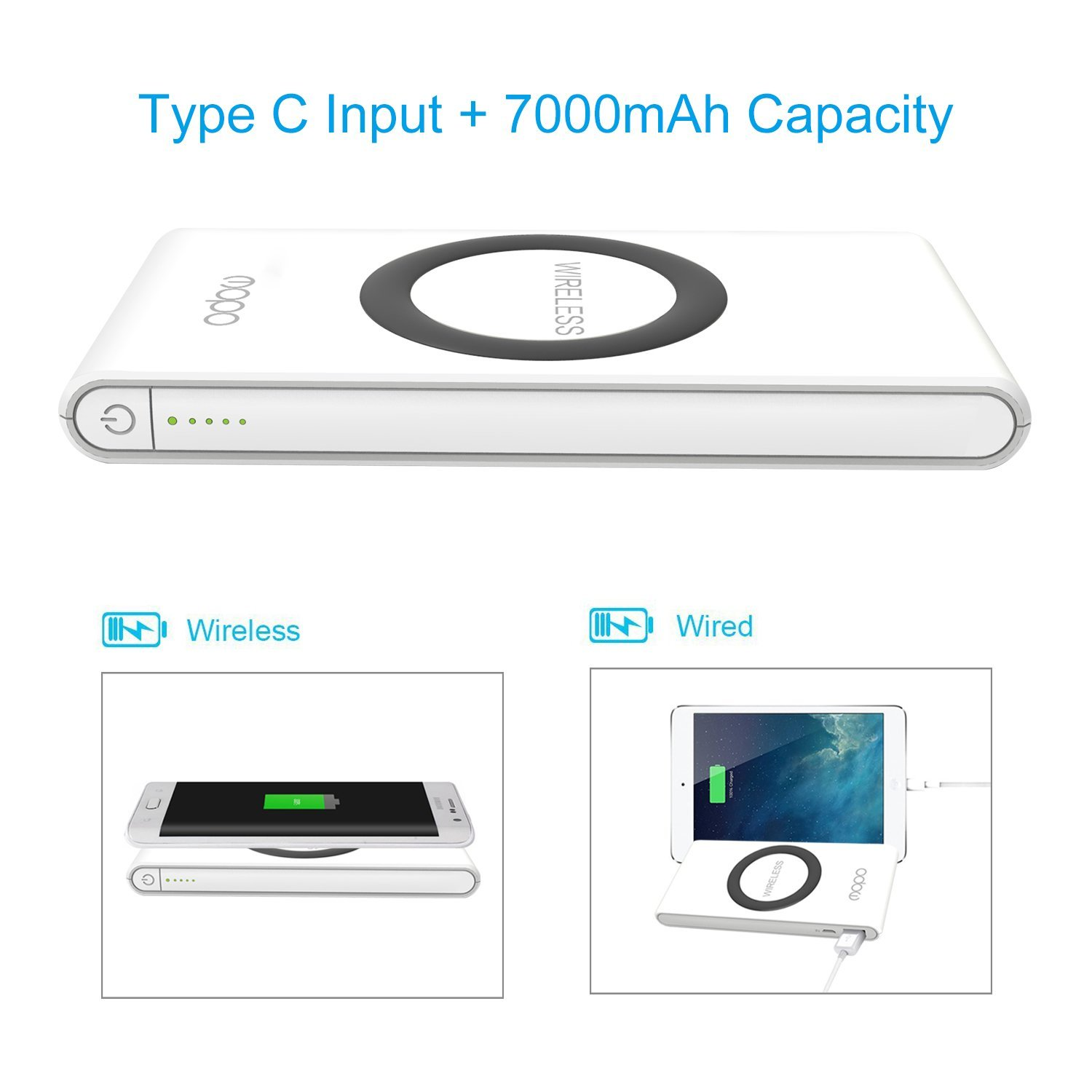 QI Wireless Charging Power Bank,MOPO 7000mAh Type C Portable Charger Dual Mode Charging with Type C/USB C input USB A Output For Samsung, iPhone And More (White-7000mAh)