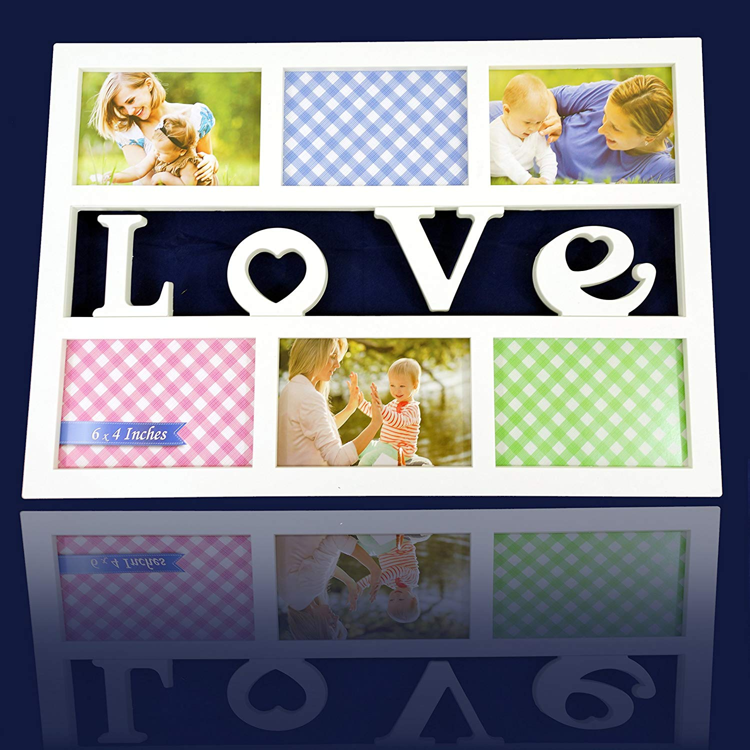 """Stylish """"Love"""" White 6 Opening 4x6 Wall Hanging Collage Picture Frame, Artistic 3D Style"""