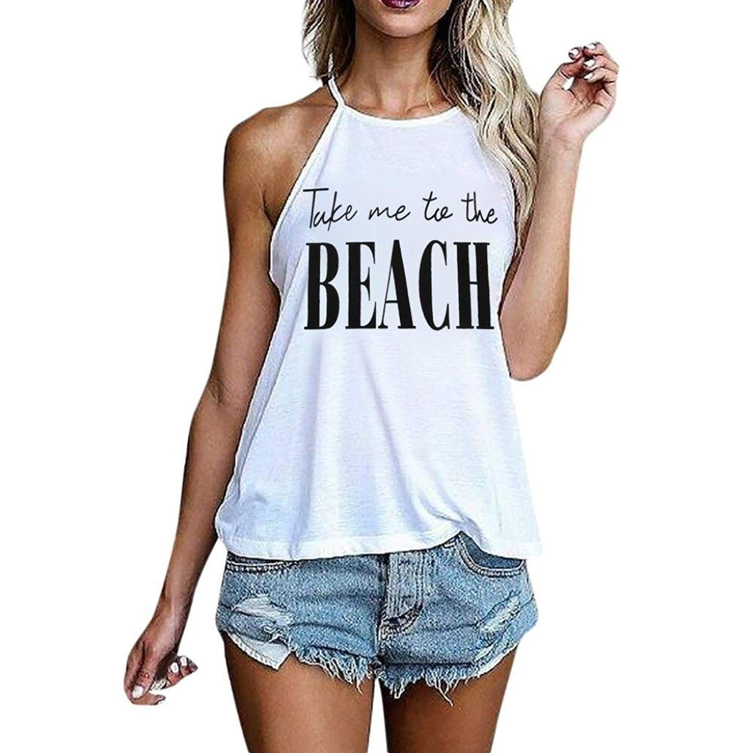 57c69dadf85 Get Quotations · Siaokim Tops For Women Hot Sale Women Tank Tops Halter  Casual Sleeveless Take Me to The