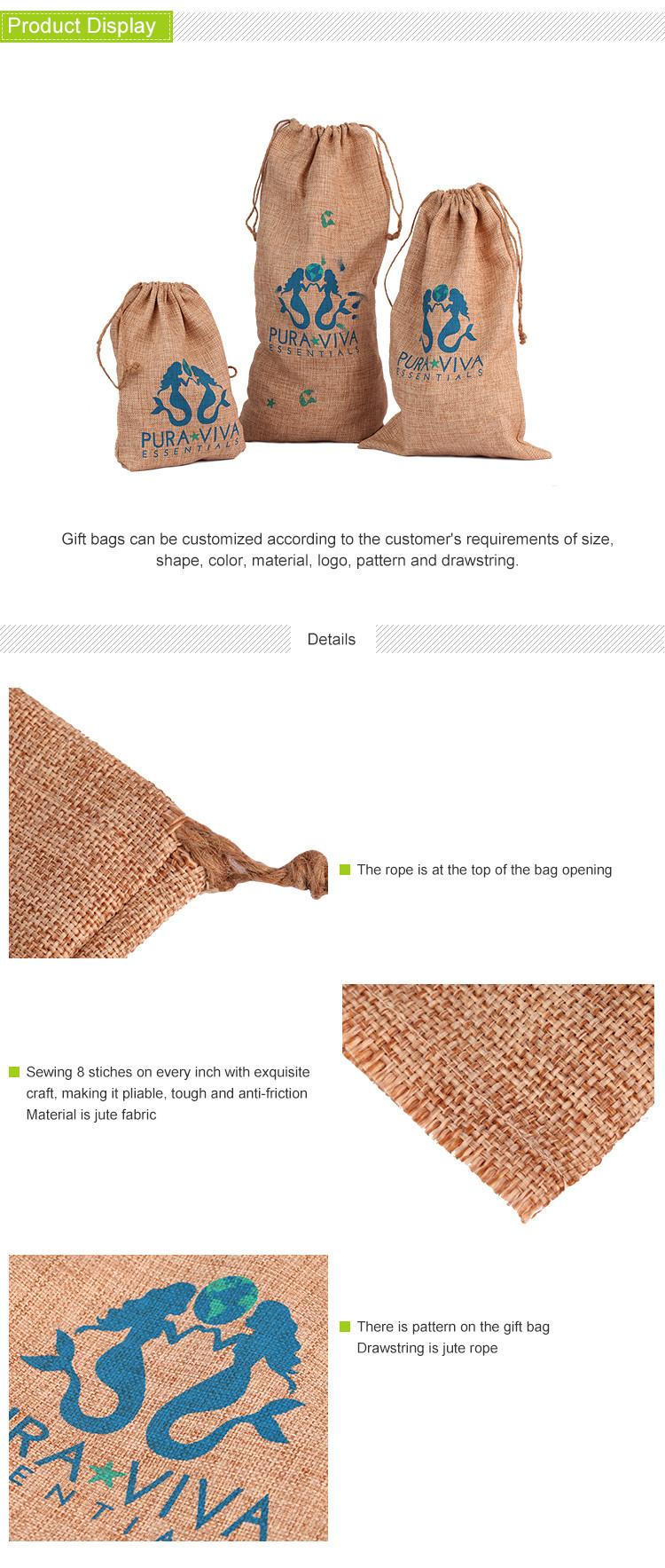 jute cocoa sack drawstring bag screen printed burlap wine bag