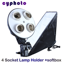 NEW photographic lighting 4 Socket Lamp with 20″x28″/50cm x 70cm Softbox for Digital Photo PSCSB4 photo studio accessories