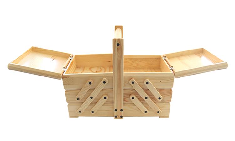 हस्तनिर्मित समायोज्य भंडारण लकड़ी सिलाई किट बॉक्स