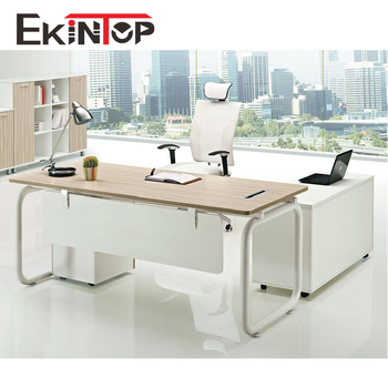 Melamine Office Furniture Table With Metal Leg For Director Used