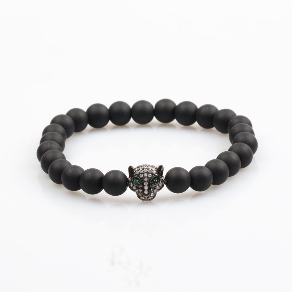 Usa Style Black Rhodium Panther And Matt Onyx Beaded Bracelet Mens