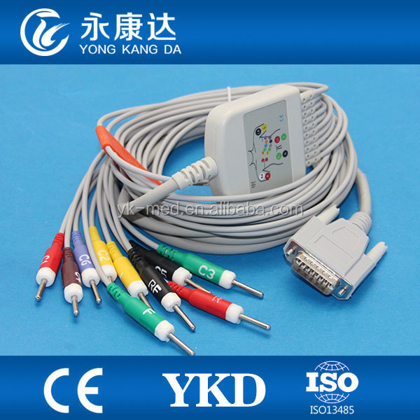 10lead no resistor Biocare ECG machine cable,ekg cable for Dongjiang,Edan, Carewell, , Osen, Spring, Zoncare, Contec