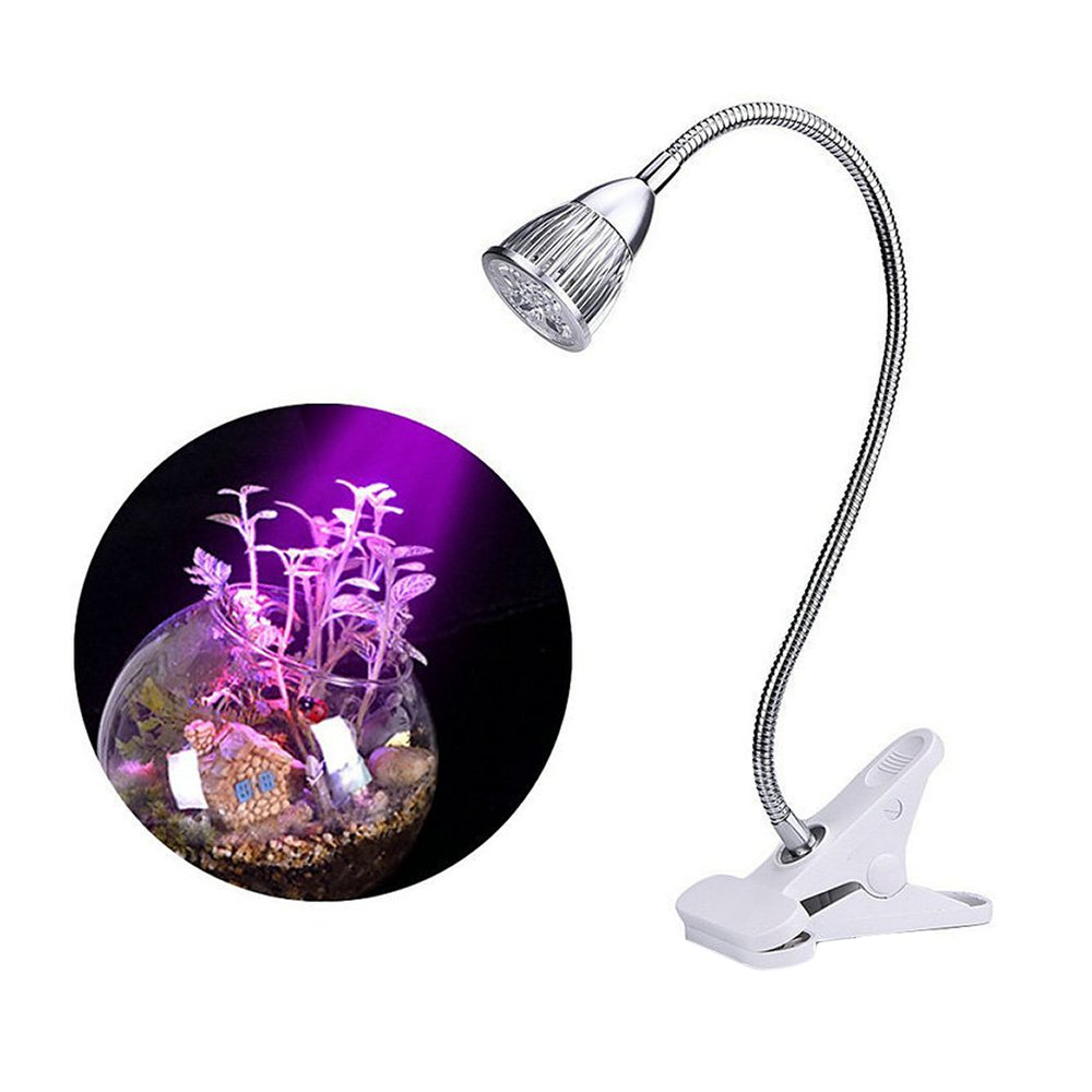 Plant Lamp, LED Grow Lights, Dual 5W LED Clip Desk Lamp with 360 Degree Flexible Gooseneck Light for Indoor Plants Garden Green House Hydroponic Tent Organizer (5W Single)