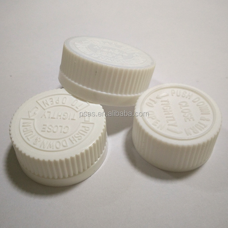Tamper proof plastic CRC child resistant cap for pill, capsule bottle use