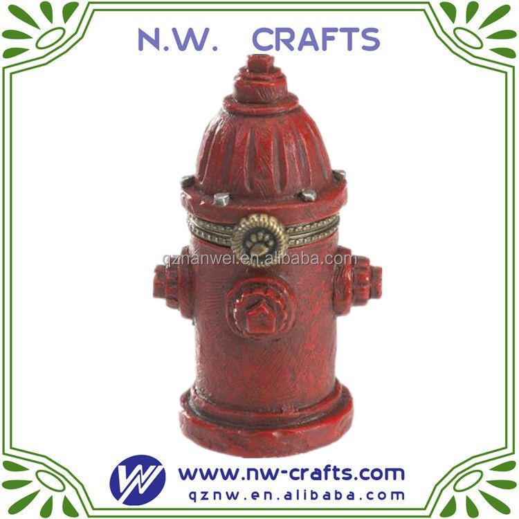 Resin Red Fire Hydrant Sculpture Model Garden Decor Souvenir