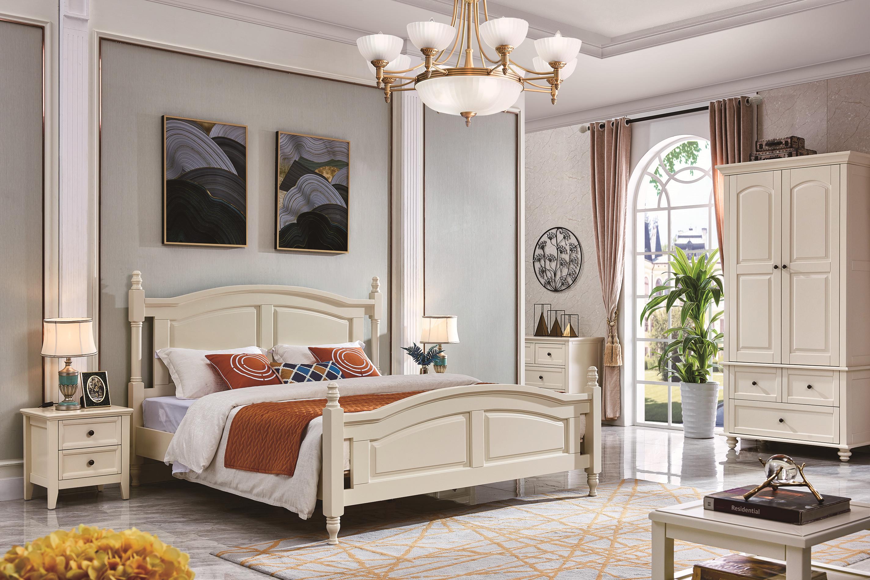 Full Oak Solid Wood Home Furniture New King Bed Designs Model