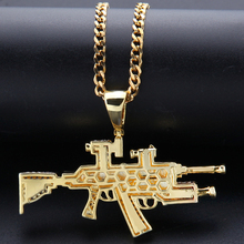 New Golden AK47 건 펜 던 트 Necklace 아이스티 Out 석 와 Hip 홉 쿠바 체인 금 Silver Color Men Women Jewelry