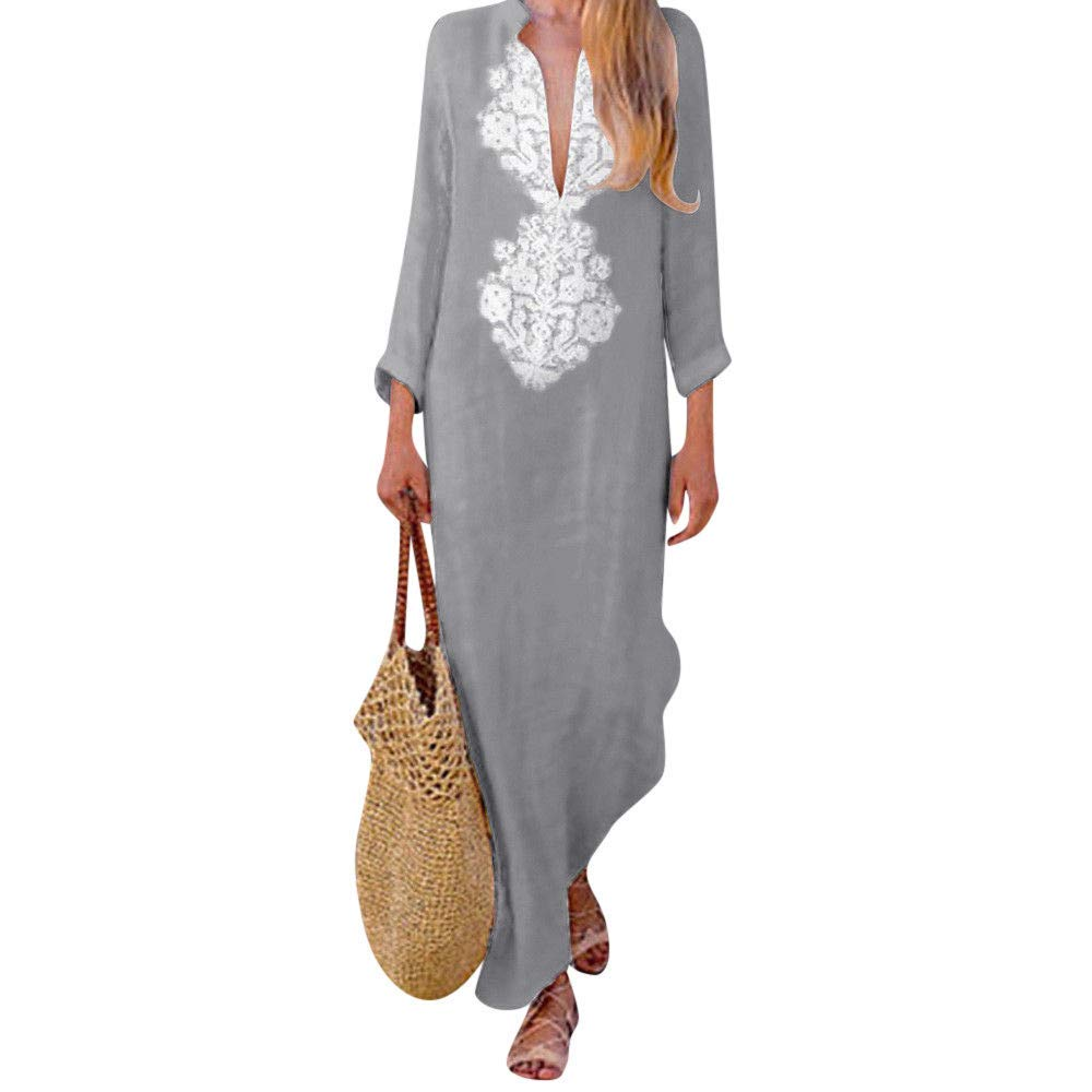 lotus.flower 2018 Women's Printed Long Sleeve V-Neck Maxi Dress Split Hem Baggy Kaftan Long Dress (S, Gray)