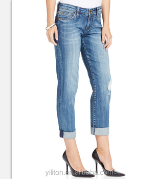 Women Denim Jean Pant Boyfriend Jeans Straight Leg Can Be Cuffed And  Uncuffed