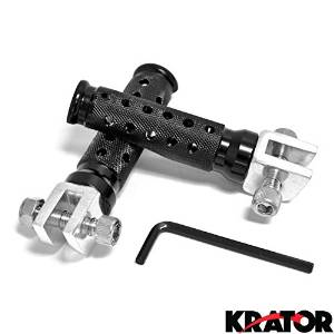 Krator Yamaha R1 R6 FZR 600 Seca II XJ 600S YZF 600R 750R FZR 1000 Black Front Foot Pegs Billet Aluminum Foot Pegs (Left & Right Sides) Motorcycle 1990-1997 1998 1999 2000 2001 2002 2003 2004 2005