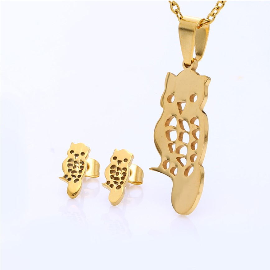 Factory Price Fashion Gold Owl Necklace Jewelry Sets Earring Necklace