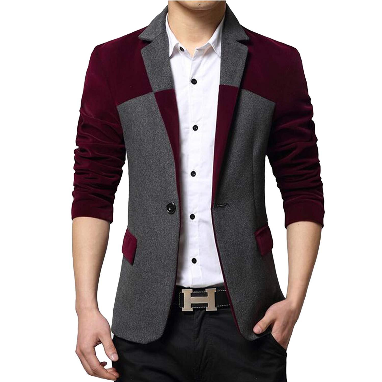 21b68bbb64f9 Get Quotations · Pishon Men s Sport Coat Slim Fit One Button Center Vent Blazer  Suit Separate Jackets