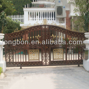 Oem Metal Sliding Garden Fence Gate With Iron Pipe Gate Grill