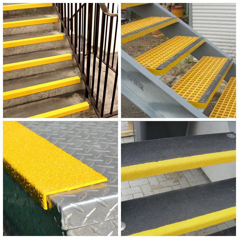 Frp Fiberglass Plastic Stair Tread Protection / FRP Plastic Stair Nosing