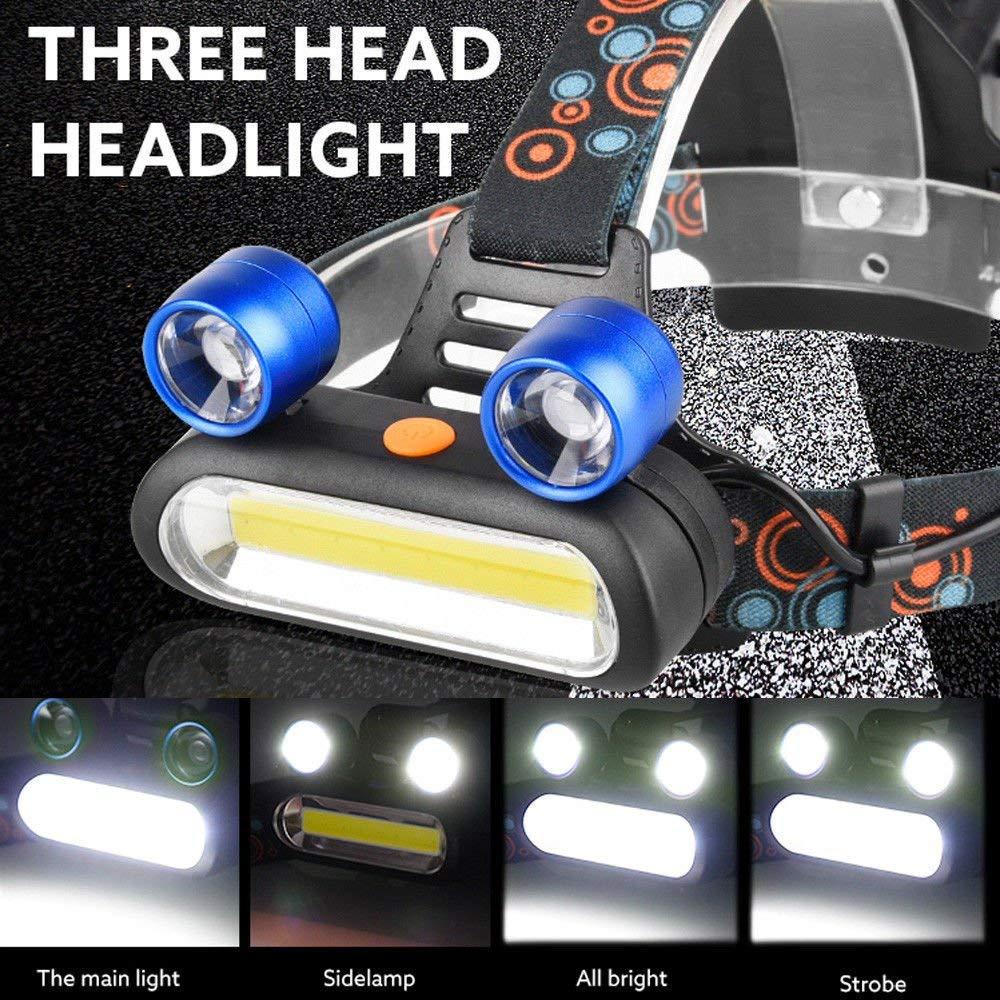 FidgetFidget Headlamp 15000LM 2X XM-L T6 LED + COB Rechargeable 18650 Head Light Torch US Z
