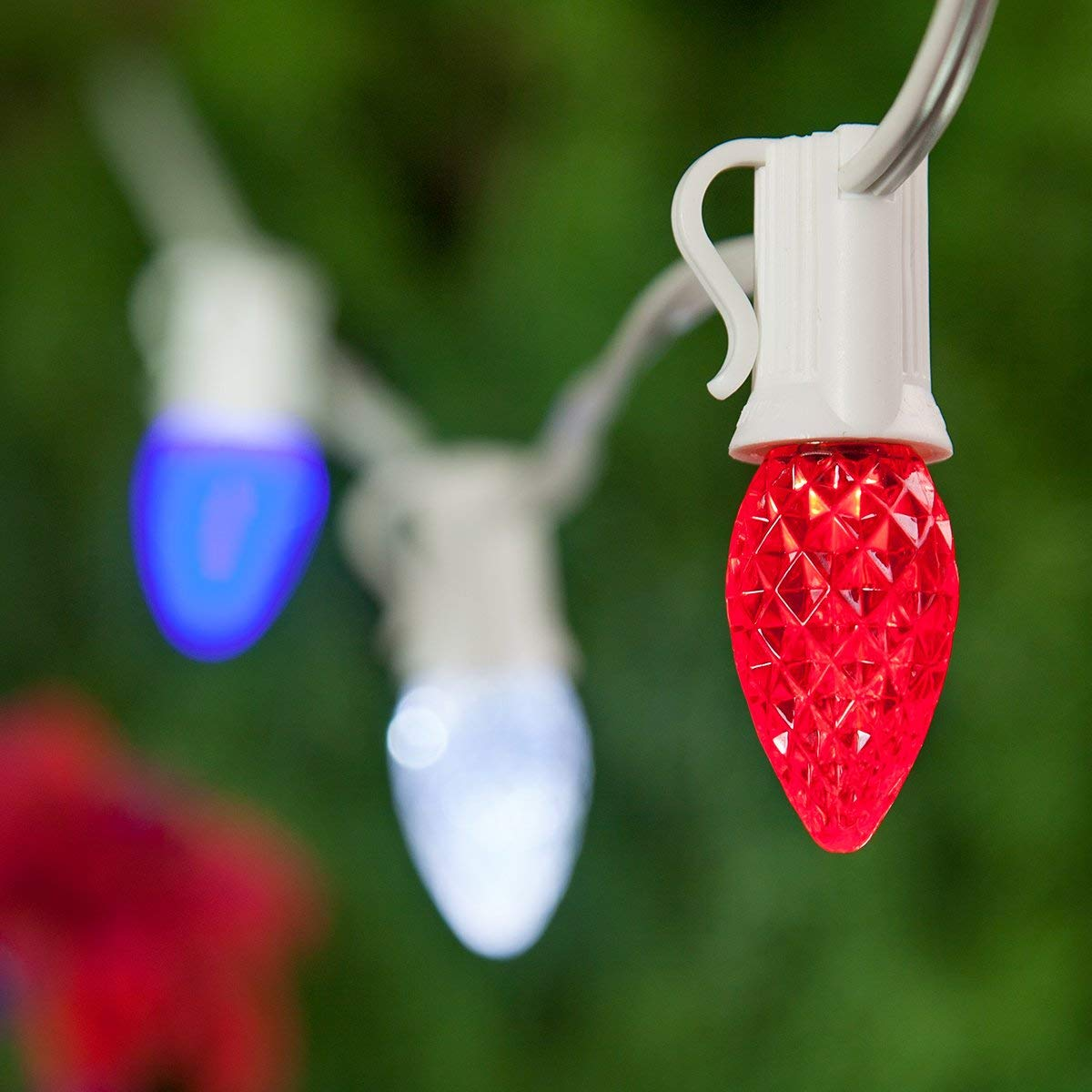 Outdoor Patriotic Lights - Red, White and Blue Lights - Patriotic Decorations, July 4 Decorations, Fourth of July Decorations (75 C7 OptiCore LED Patio Lights, 75 Ft, Red, White and Blue)