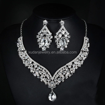 Elegant Flower Crystal Bridal Jewelry Sets Gorgeous Silver Color