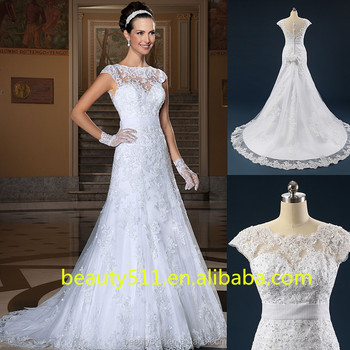 Real Dress Beaded Appliqued Scoop Neckline Cap Sleeve Lace Trumpet ...