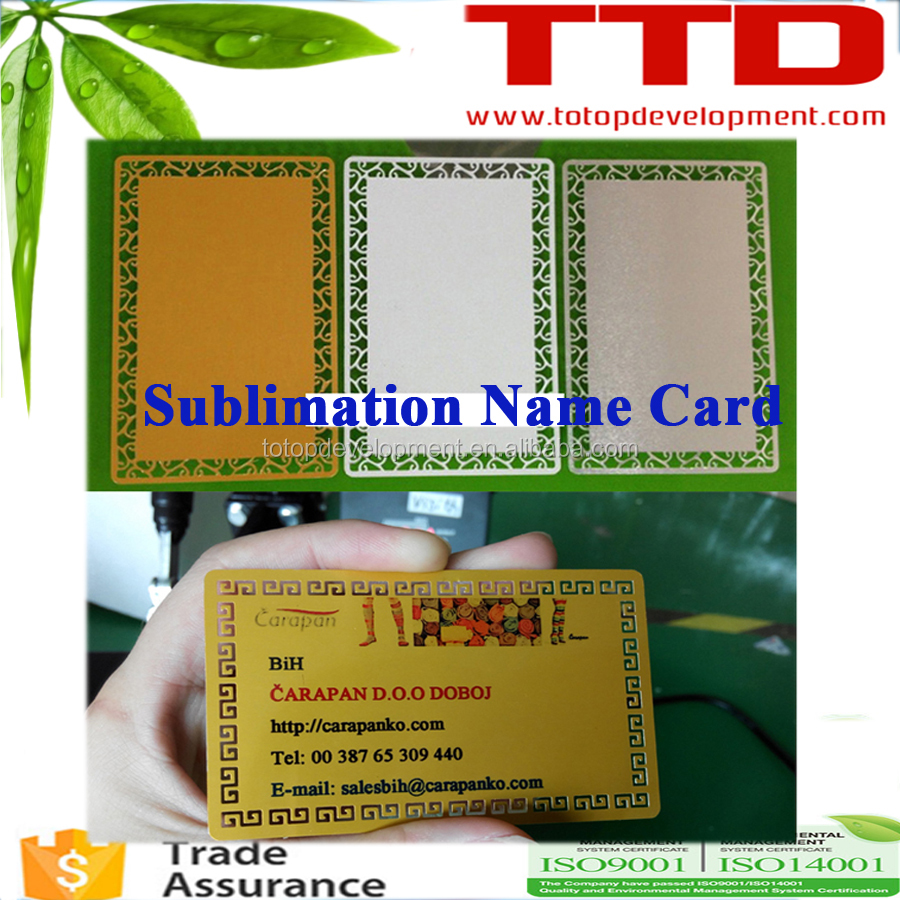 customize printing ,sublimation blank aluminum business card