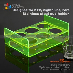 6 cup acrylic KTV glass bottle acrylic tea cups holder stand PMMA tall shot glass holder Acrylic octagon cup serving tray