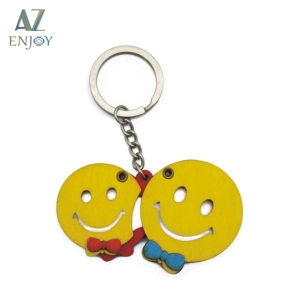 Customised Key Holder Smile Keyrings Couples Wood Giveaway Rotatable Keychain