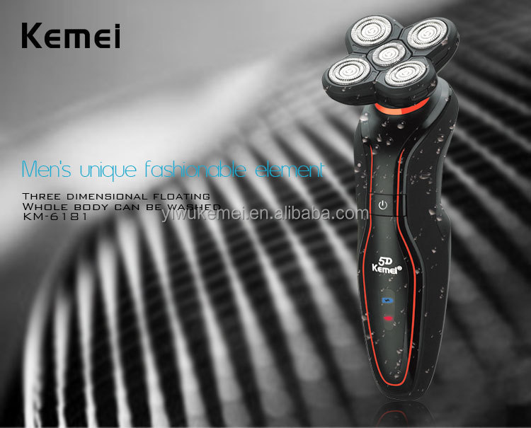 Kemei Km6181 New 5 Heads Electric Washable Rechargeable Foil Shaver