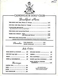 Canongate Golf Club Restaurant Menus Atlanta Georgia 1986