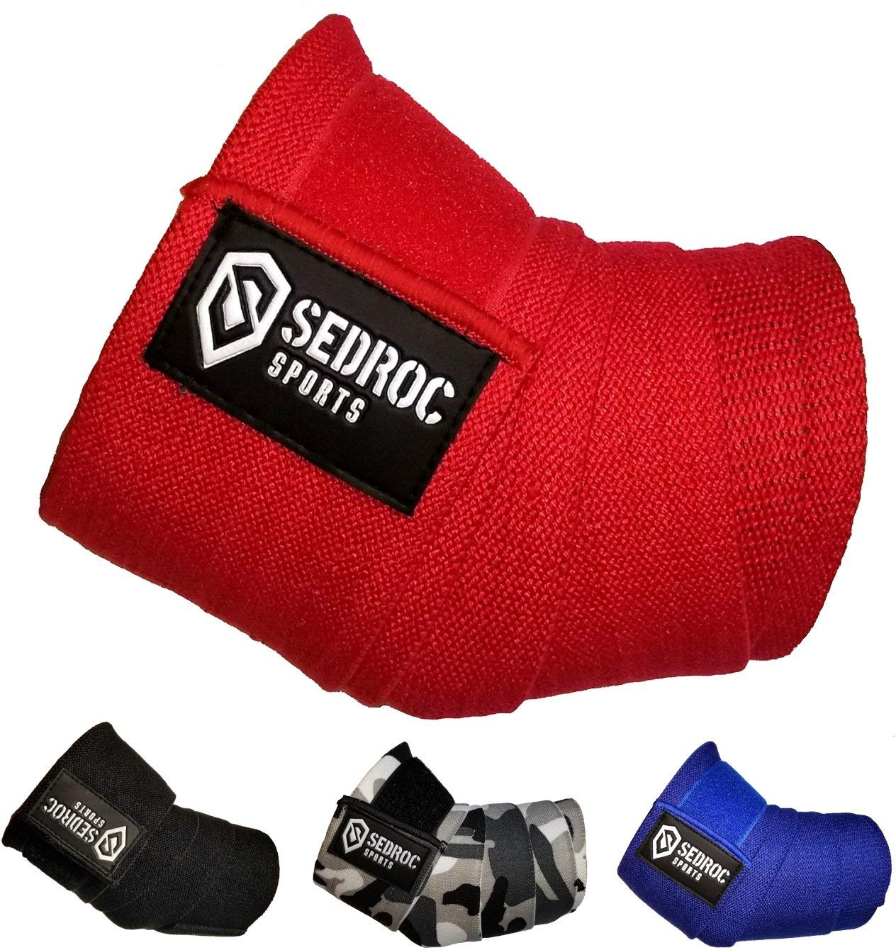 4962a4913e Get Quotations · Sedroc Sports Weight Lifting Elbow Wraps Powerlifting  Support Sleeves Straps - Pair