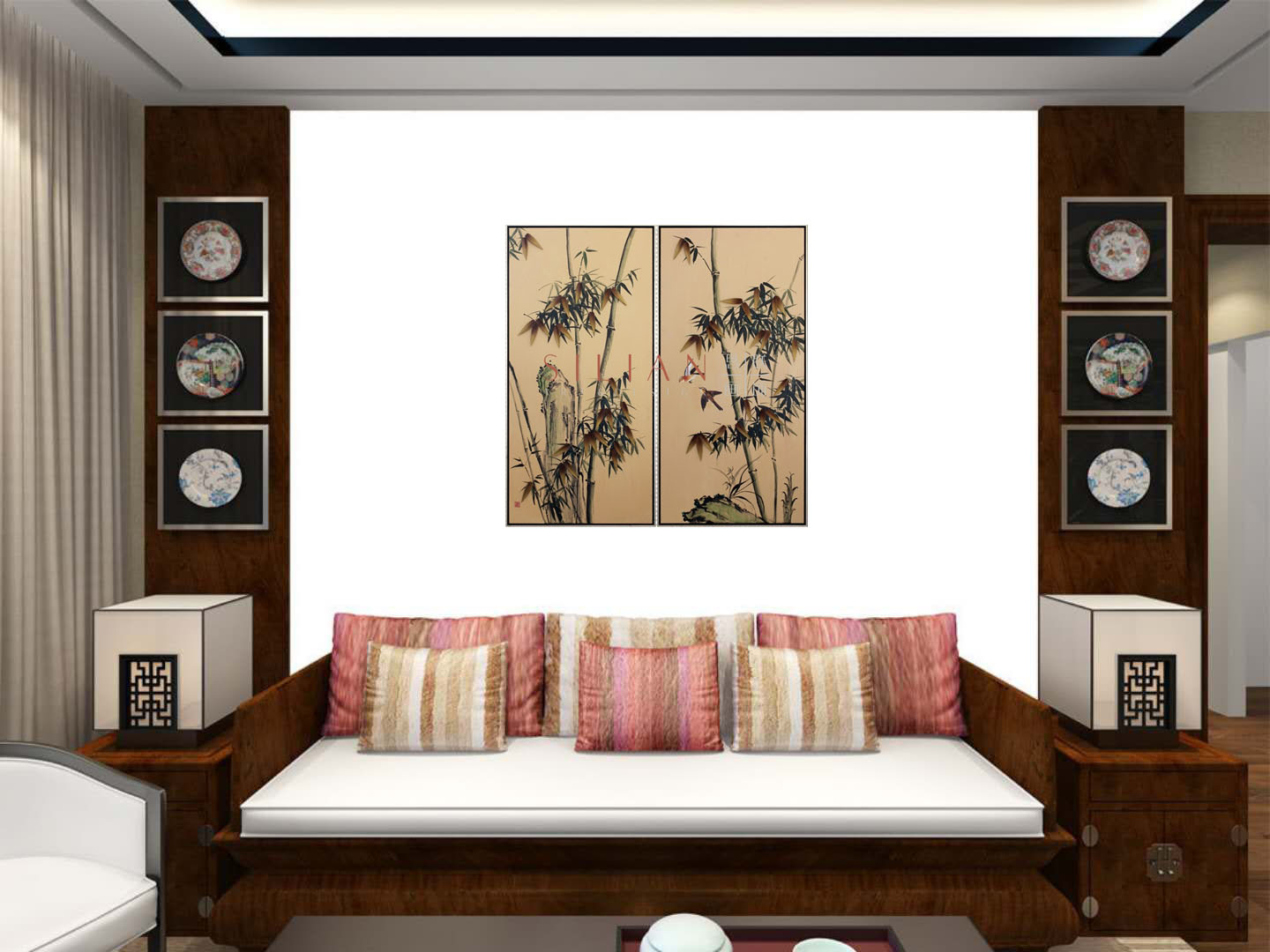 Handmade relife 3D wall art bamboo oil painting